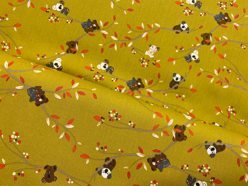 Koala in the Woods- Chartreuse, Woven Cotton Poplin by the 1/2 METER (4352209190972)