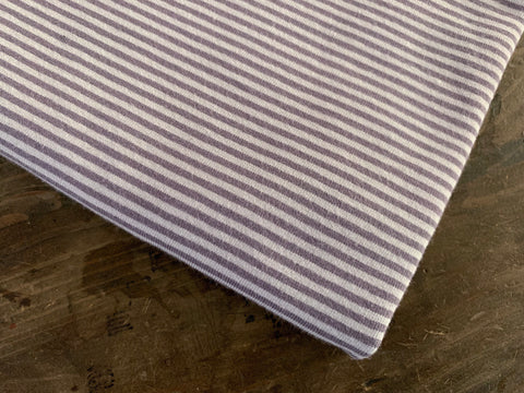 2 mm Dusty Lilac Stripes, by the 1/2 m, Jersey Knit Fabric, European knits (3716817518652)