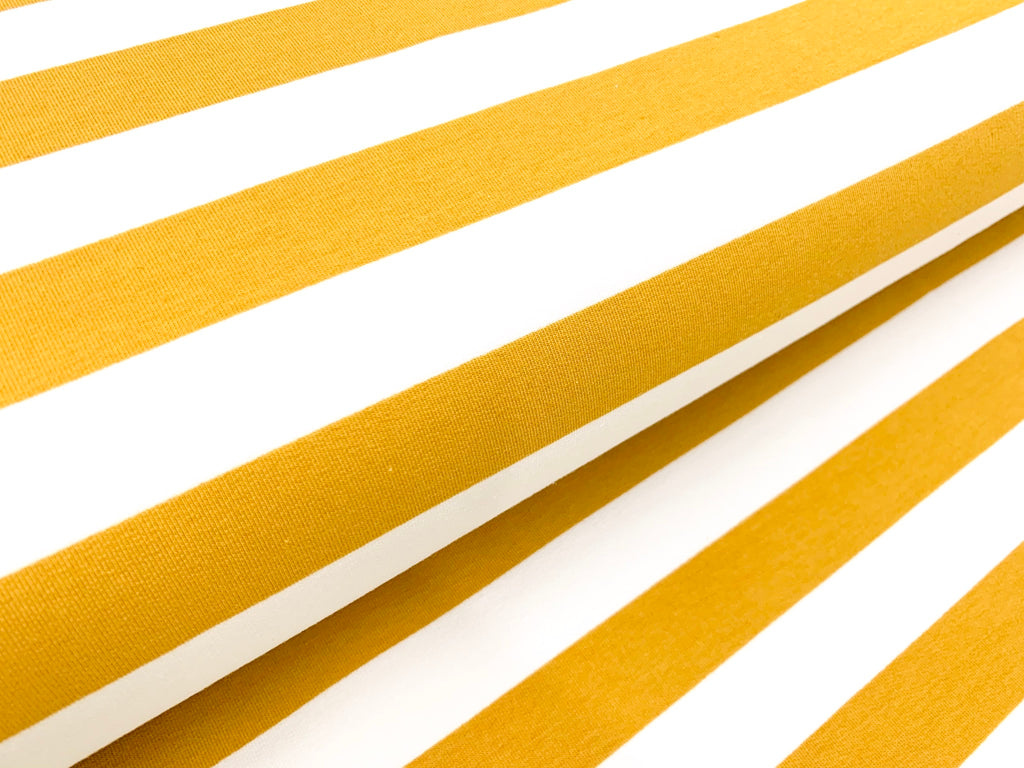 Inch-Wide Stripes- Ochre - French Terry Knit Fabric. per 1/2 meter, European Knits (4352259227708)
