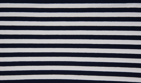 Navy-White 1 cm Stripes, Oeko-Tex 100 Certified, Knit Fabric by the 1/2 Meter, European knits