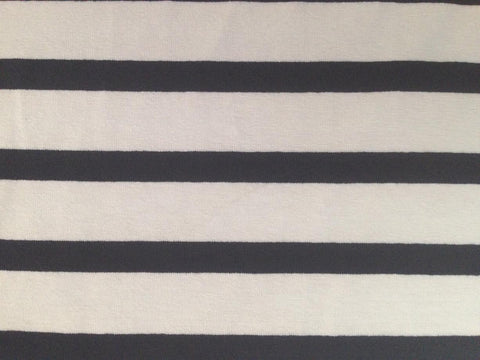 Ivory-Navy Stripes, Jersey Knit Fabric by the 1/2 METER