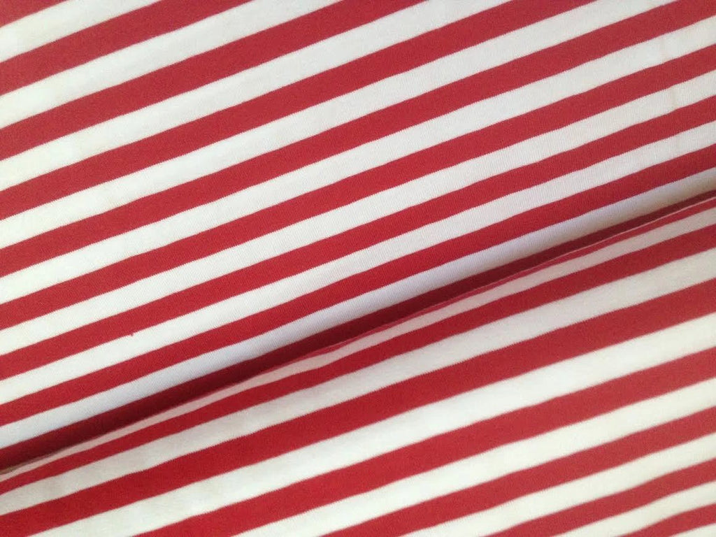 Yarn Dyed Red-White 1cm Stripes, Oeko-Tex 100 Certified, Knit Fabric by the 1/2 Meter, European knits