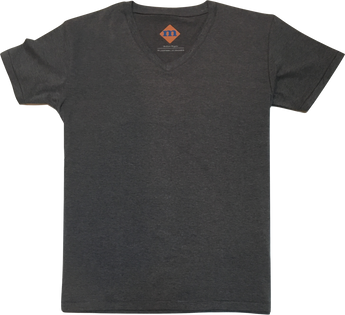 gray v-neck premium cotton blend t-shirt customize length width durable stretch