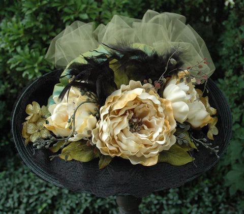 Victorian Touring Hat in Sage Green Taffeta