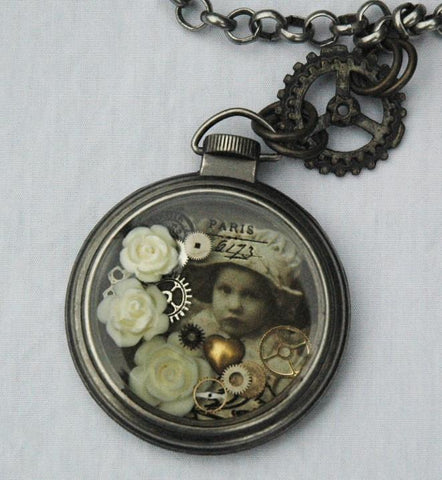 steampunk influenced pocket watch necklace