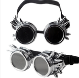 steampunk spiked goggles silver