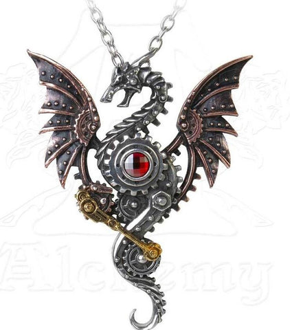 A dragon necklace influenced by steampunk