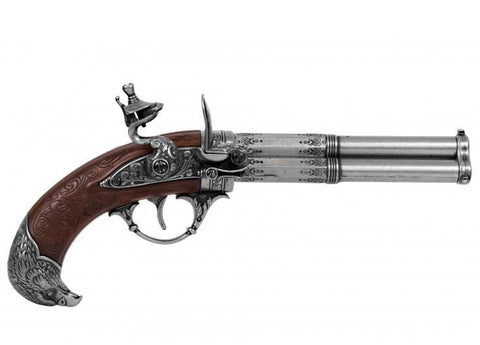 FD1306-REVOLVING 3 BARREL FLINTLOCK PISTOL, FRANCE 18TH. C.