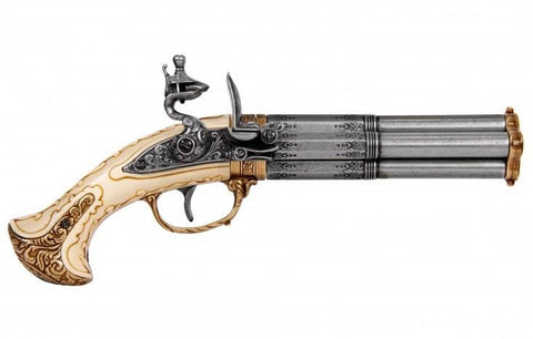 FD1310- REVOLVING 4 BARREL FLINTLOCK PISTOL, FRANCE 18TH. C