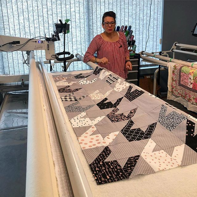 "Quilting ""Almost Houndstooth"" in the quilting"