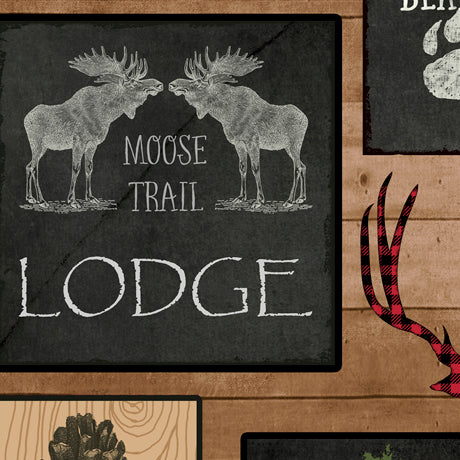 Quilting Treasures Moose Trail Lodge - Lodge Patch - Tan