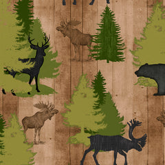 MOOSE TRAIL LODGE ANIMALS & PINE TREES - TAN
