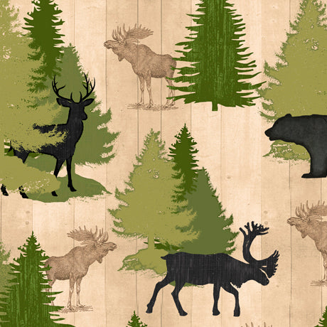 MOOSE TRAIL LODGE ANIMALS & PINE TREES - CREAM