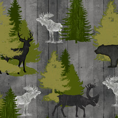 MOOSE TRAIL LODGE ANIMALS & PINE TREES - GRAY