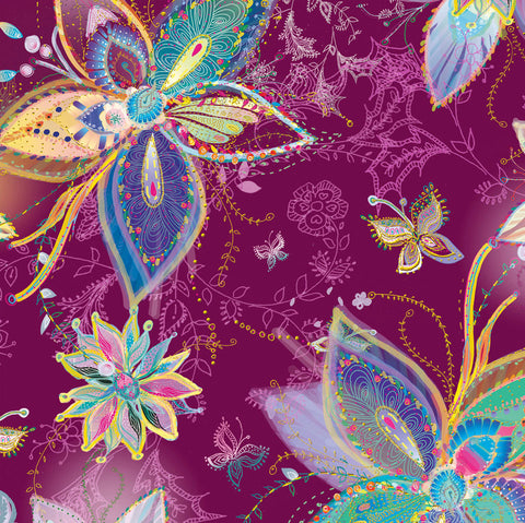 Enchanted Floral - Large Floral  Plum - Designed by Turnowsky for QT Fabrics