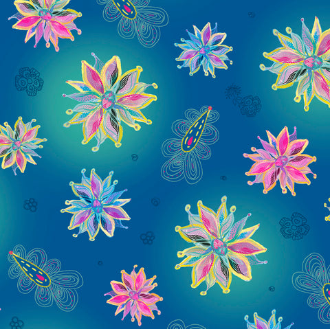 Enchanted Floral - Tossed Floral Blue - Designed by Turnowsky for QT Fabrics