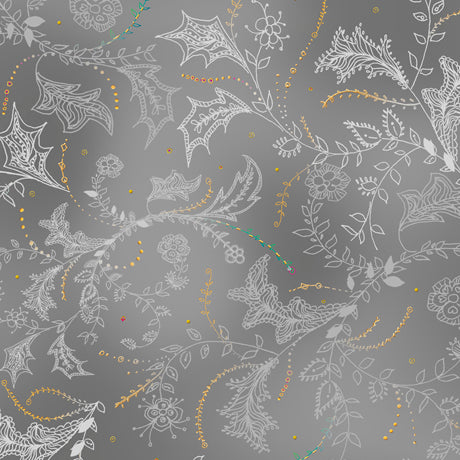 Enchanted Floral - Floral & Vine Toile Gray - Designed by Turnowsky for QT Fabrics