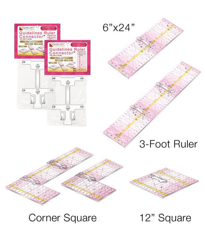 3 Guidelines Rulers with 2 Connectors Set