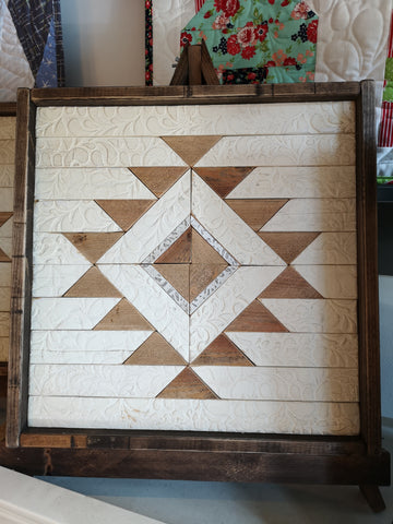 "Cream & Tan #3 Handmade Wooden Quilt Block 16"" x 16"""