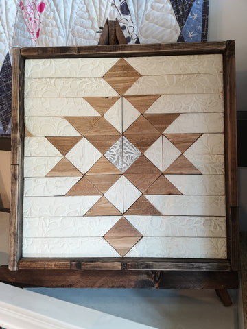 "Cream & Tan #2 Handmade Wooden Quilt Block 16"" x 16"""