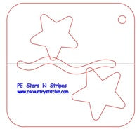 Stars & Stripes Domestic Quilting Ruler Template - 1/2 inch Foot