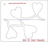 Hearts Meander XL Domestic Quilting Ruler Template - 1/4 inch Foot