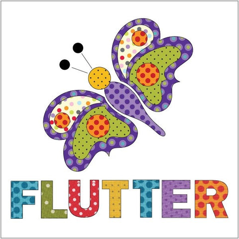 Butterfly - Purple Dotz - w/ letters - Applique