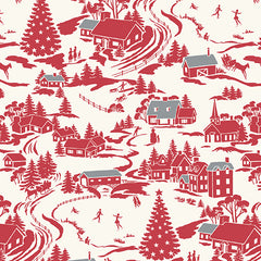 Winter Berries by Kathy Hall for Andover - Winter Village - Crimson
