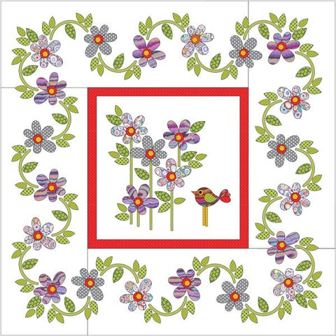 Daisy Dotz Quilt - Medium - Grey/Purple - Applique