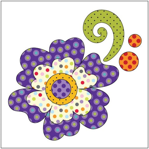 Flower - Purple Dotz - Applique