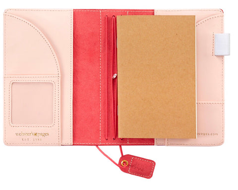 Pink Stitched Stripe Suede Pocket Traveler Planner