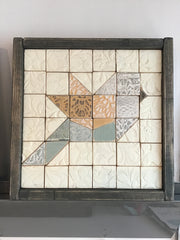 Multicolour Sparrow #2 Handmade Wooden Quilt Block 10 x 10 inches