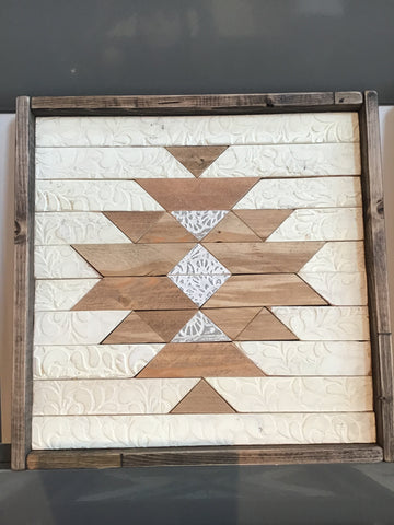 Cream & Tan #1 Handmade Wooden Quilt Block 16 x 16 inches