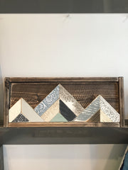 Blue & Cream & Grey Mountains #1 Handmade Wooden Quilt Block 17.5 x 7 inches