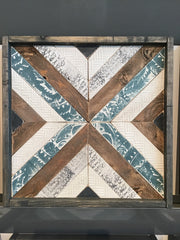 Turquoise & Cream Handmade Wooden Quilt Block 16 x 16 inches