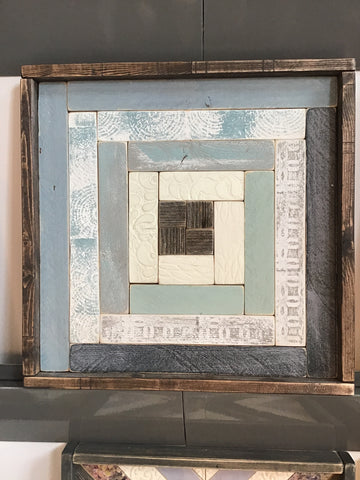Blue & Grey #1 Handmade Wooden Quilt Block 16 x 16 inches