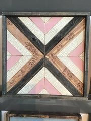 Pink & Cream Handmade Wooden Quilt Block 16 x 16 inches