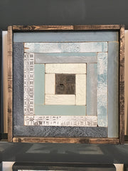 Blue & Grey #2 Handmade Wooden Quilt Block 16 x 16 inches