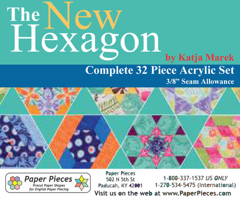 "Acrylic Fabric Cutting Templates: The New Hexagon Complete 32 Piece Set with 3/8"" Seam Allowance"