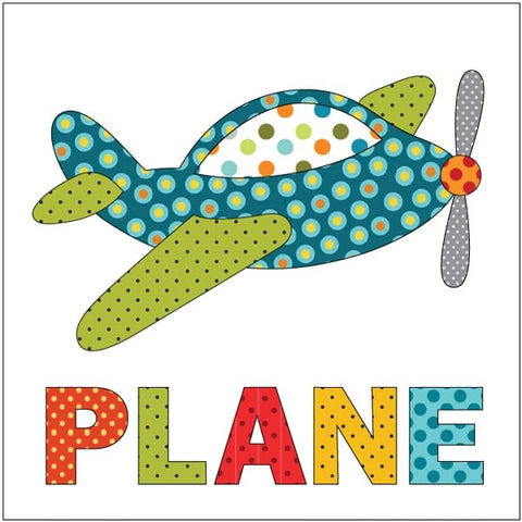 Plane - Retro Dotz - w/ Letters - Applique