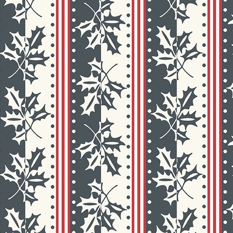 Winter Berries by Kathy Hall for Andover - Holiday Stripe - Shale