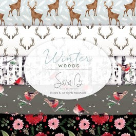 Winter Woods by Sara B for Camelot Fabrics - Birds - White