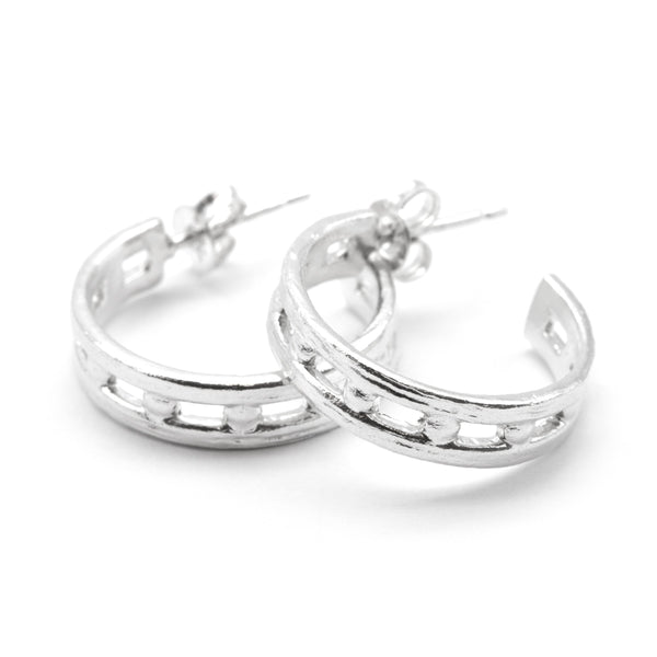 Helm Hoop Earrings Silver