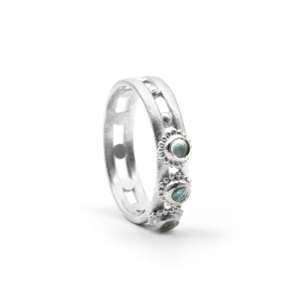 Jewelled Helm Ring Silver