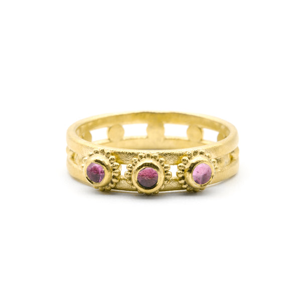 Jewelled Helm Ring Gold Plated