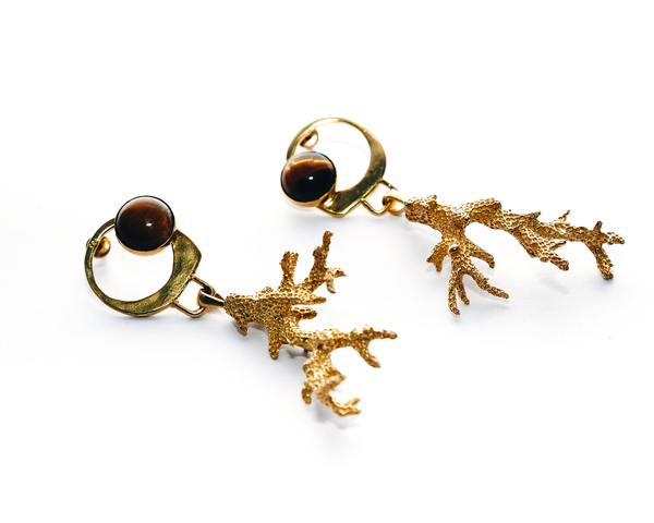 Deep Water Earrings Gold Plated Sterling Silver