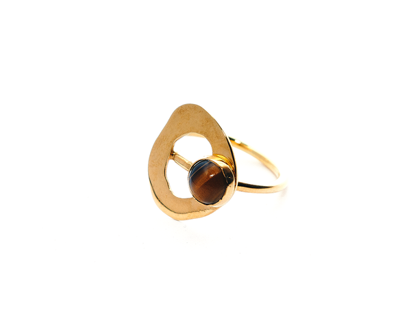 Rockpool Ring Gold Plated Sterling Silver