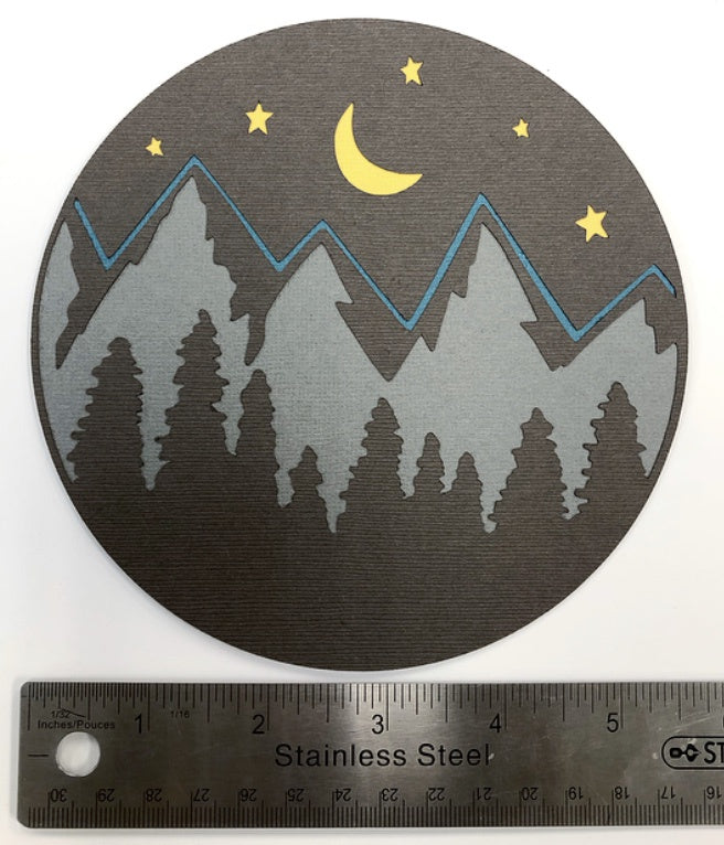 Evening Mountain Scene Layered Die Cut