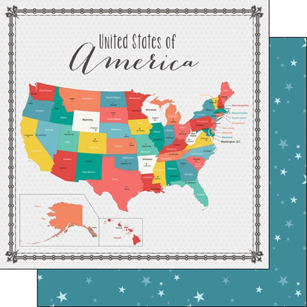 USA Memories Map 12x12 Paper