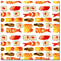 Watercolor Food Fun Sushi 12x12 Paper